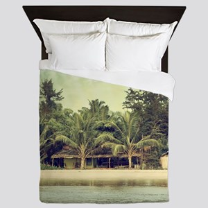 Vintage Beach Photo Queen Duvet