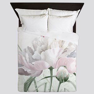 Beautiful Peony Painting Queen Duvet