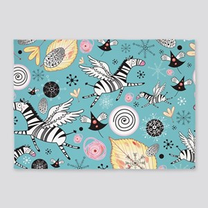Whimsical Zebras 5'x7'Area Rug