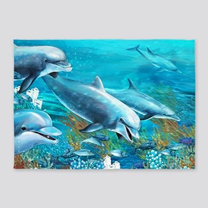 Beautiful Dolphin Painting 5'x7'Area Rug