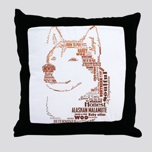 Malamute Words Throw Pillow