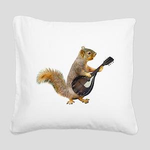 Squirrel Mandolin Square Canvas Pillow