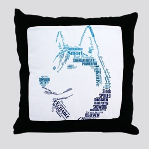 Husky Words Throw Pillow