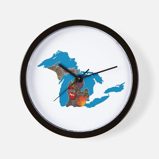 Great Lakes Michigan Harvest Wall Clock