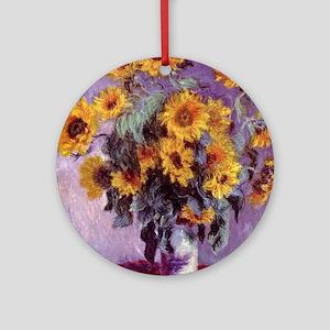 Claude Monet Bouquet of Sunflowers Round Ornament