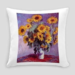 Claude Monet Bouquet of Sunflowers Everyday Pillow