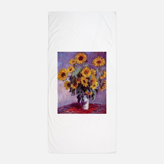 Claude Monet Bouquet of Sunflowers Beach Towel