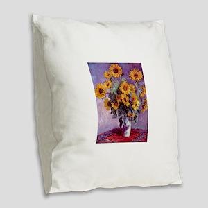 Claude Monet Bouquet of Sunflowers Burlap Throw Pi