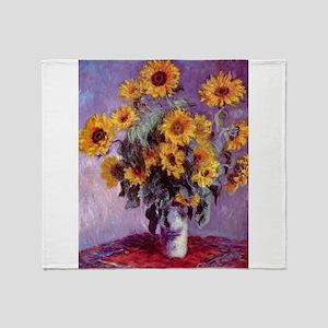 Claude Monet Bouquet of Sunflowers Throw Blanket