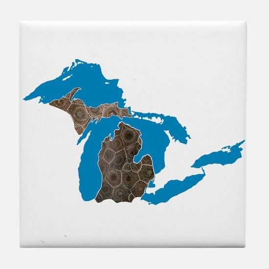 Great lakes Michigan petoskey stone Tile Coaster