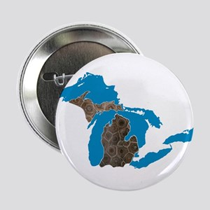 """Great lakes Michigan petoskey stone 2.25"""" Button"""