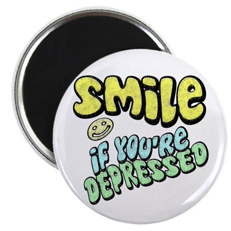 """SMILE If you're Depressed 2.25"""" Magnet (10 pack)"""