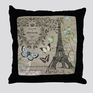 Vintage French Eiffel Tower Throw Pillow