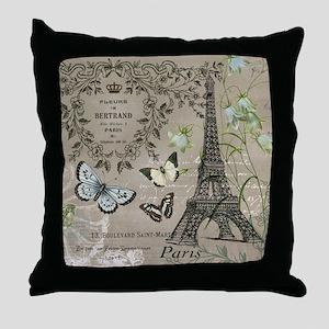 Vintage French Eiffel Tower Throw Pillow