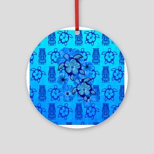 Blue Honu Blue Tiki Ornament (Round)
