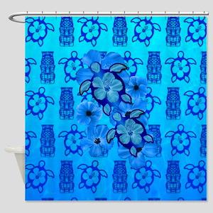 Blue Honu Blue Tiki Shower Curtain
