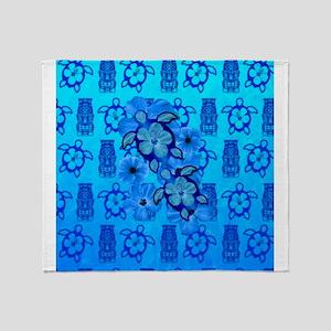 Blue Honu Blue Tiki Throw Blanket