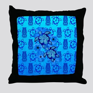 Blue Honu Blue Tiki Throw Pillow