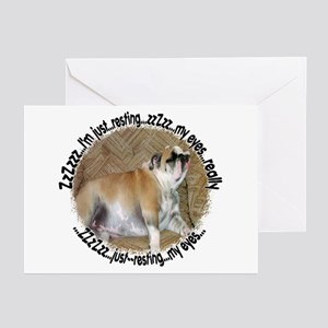 Just Resting My Eyes Bulldog Greeting Cards (Packa