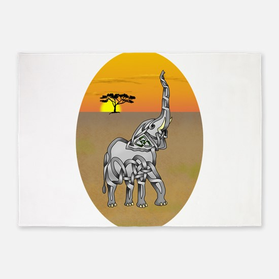 Trumpeting Elephant 5'x7'Area Rug