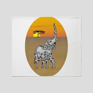 Trumpeting Elephant Throw Blanket