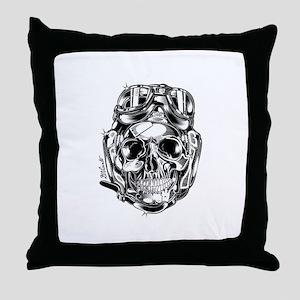 Aviator Skull Throw Pillow