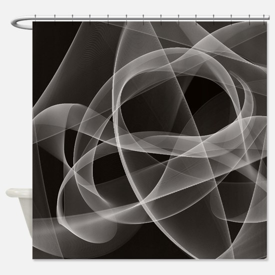 Black Fractal Shower Curtain