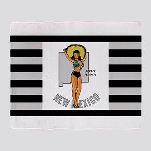Vintage New Mexico Pinup Throw Blanket
