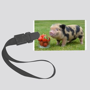 Micro pig with strawberries Large Luggage Tag