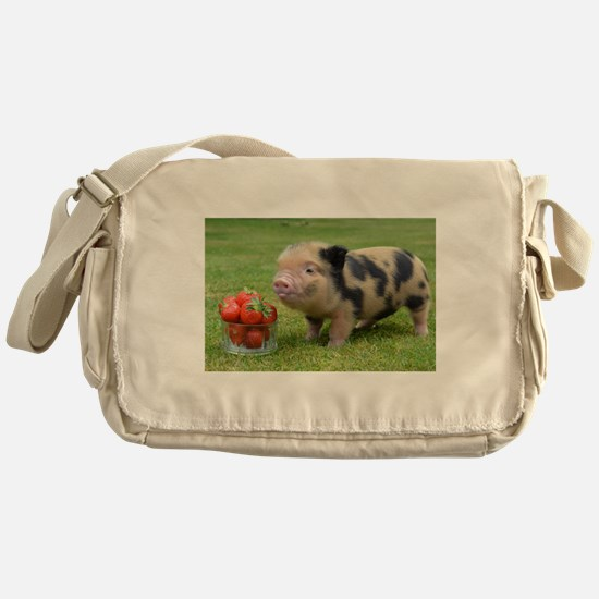 Micro pig with strawberries Messenger Bag