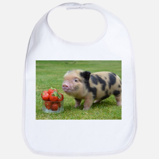 Micro pig with strawberries Bib
