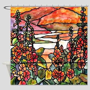 Tiffany Red Hollyhocks in Landscape Shower Curtain