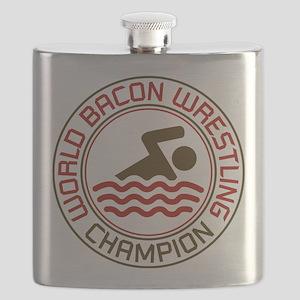 World Bacon Wrestling Champion Flask