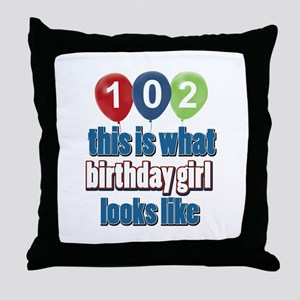 102 year old birthday girl Throw Pillow
