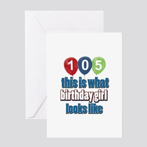 105 year old birthday girl Greeting Card