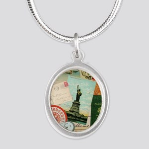 Vintage Passport travel collage Necklaces