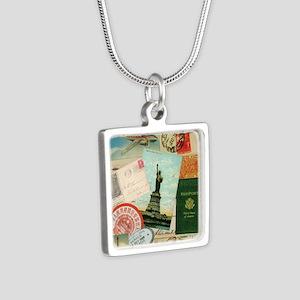 Vintage Passport travel collage Necklaces