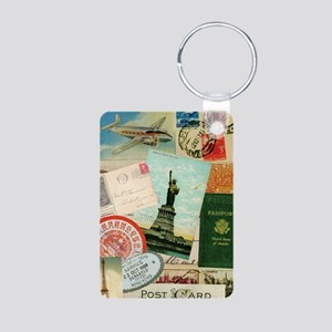 Vintage Passport travel collage Keychains