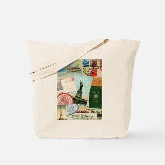 Vintage Passport travel collage Tote Bag