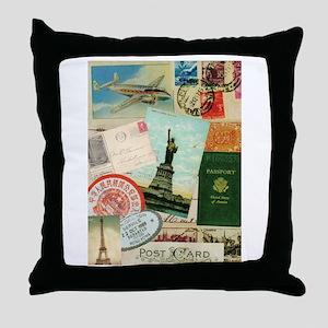 Vintage Passport travel collage Throw Pillow