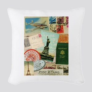 Vintage Passport travel collage Woven Throw Pillow