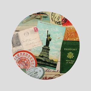 """Vintage Passport travel collage 3.5"""" Button"""