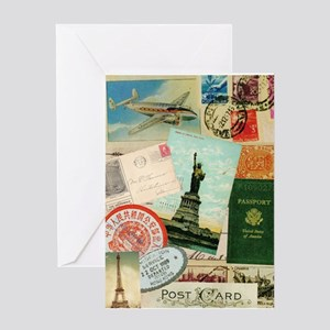 Vintage Passport travel collage Greeting Card