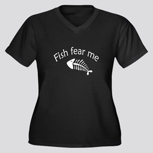 Fish fear me Women's Plus Size V-Neck Dark T-Shirt