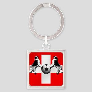 Swiss Football Flag Square Keychain