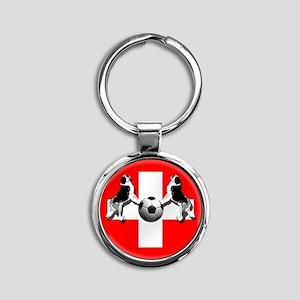Swiss Football Flag Round Keychain