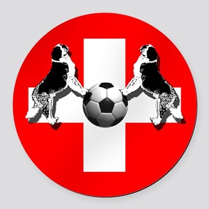 Swiss Football Flag Round Car Magnet