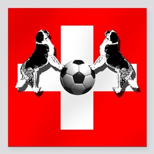 "Swiss Football Flag Square Car Magnet 3"" x 3"""