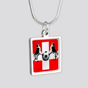 Swiss Football Flag Silver Square Necklace