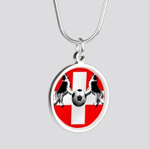 Swiss Football Flag Silver Round Necklace